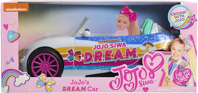 JoJo's doll has a really sweet D.R.E.A.M. car. Priced at under $18, the souped-up convertible has stars, stripes, and unicorns painted on it. It features four different-colored wheel rims, just like JoJo's real-life car.