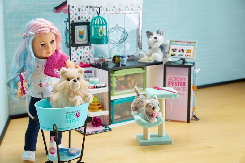 The Pet Boutique is a fabulous way to blend 18-inch dolls with stuffed animals. Every toy gets a chance to play.
