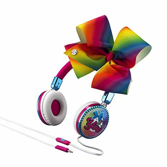 These snazzy JoJo Siwa headphones boast bows. The bow on the fashion headphone is detachable. Kids can add other bows to it from Siwa's accessory collection.