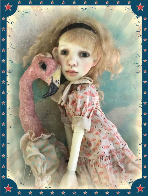 Alice, part of Lowe's Stella collection, made her debut at the 2019 MDCC in San Antonio, shown here with a OOAK flamingo sculpt by Paulette Goodreau.