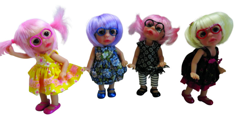 """Moulton's Lil Sis line of 6-inch resin dolls are not BJDs. These tiny creations are fan favorites. Collectors respond to their eyeglasses and painted shoes. """"She is a fun little girl,"""" Moulton said."""