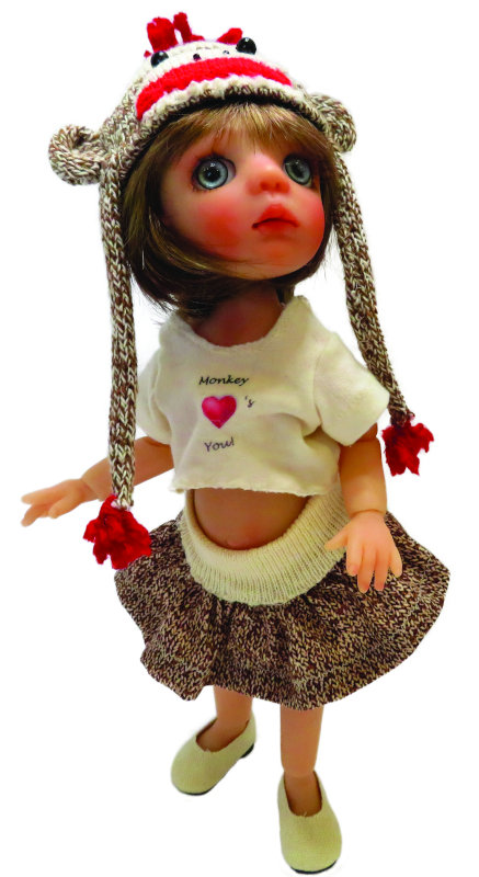 Sock Monkey, 10 inches, is one of Moulton's current resin BJD offerings.