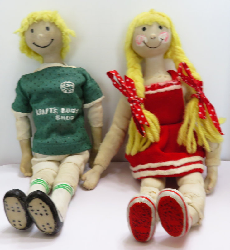 """""""I still have these dolls because they represent my daughter and son. They are not portrait dolls, but they represent my son as a soccer player and my daughter as a cheerleader. They are among my first dolls,"""" Moulton said."""