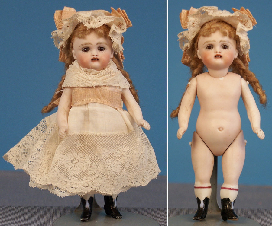 Early Kestner all-bisque doll with black boots.