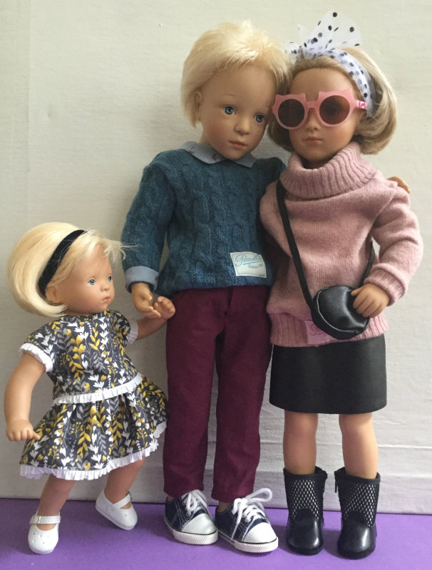 Three of Natterer's doll designs from her 2020 Petitcollin collection. From left: a Minette, a Finouche boy, and a Starlette.