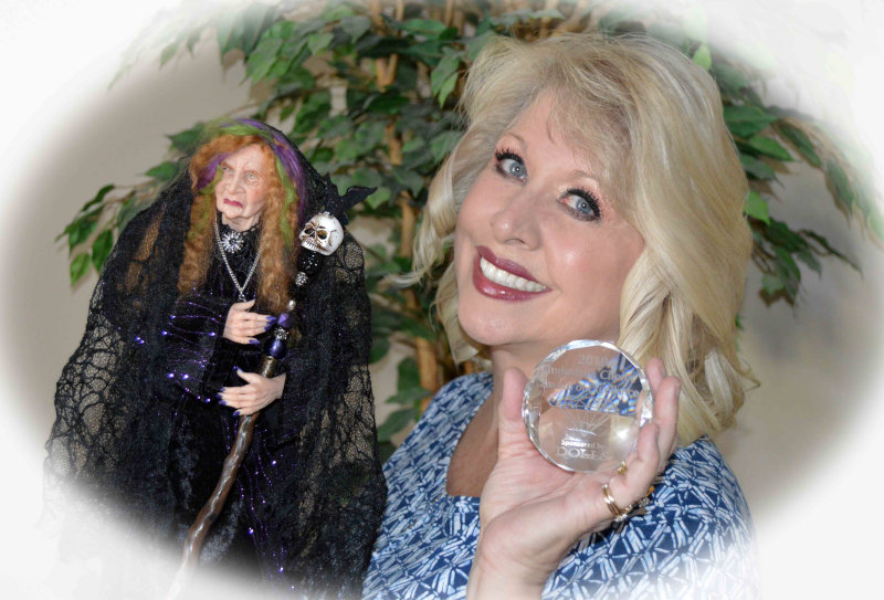 Collette Hatch with her award-winning doll Evalena.