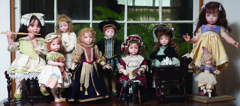 Porcelain dolls ranging from 18 to 26 inches are assembled at the studio shop in Jamestown, Mo.