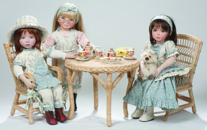 Three 18-inch dolls with Keepsake Playmate poseable bodies: Portrait Series #1, American Kidz Series #1, and Brooke. Costumes were made by Magalie Dawson.