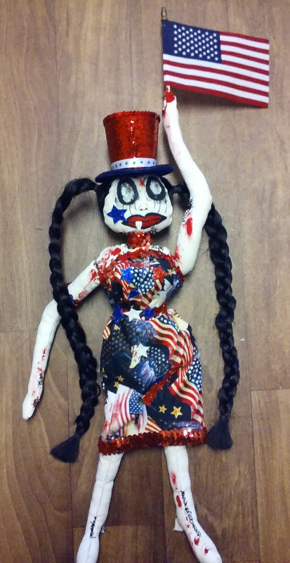 Bloody 4th of July, 23 inches, is one of Harvey's Creepy Dolls.