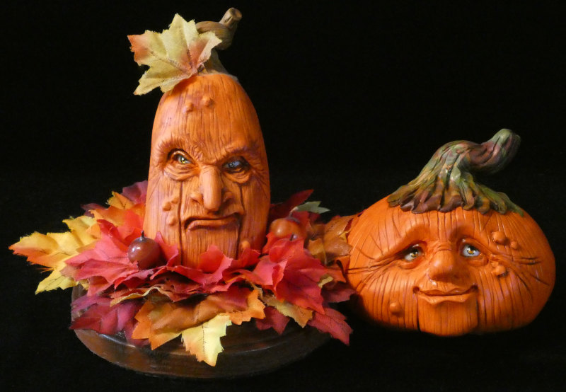 A series of characterful pumpkin faces has proved popular for the artist.