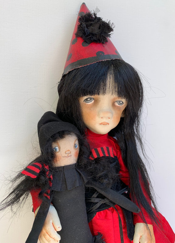 Latham's OOAK cloth doll Alejandra, 15 inches, holds her dolly Rita.