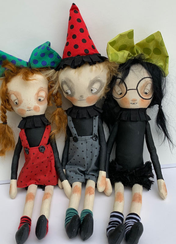 Latham's Silly Raggies collection are OOAK 15-inch cloth dolls.