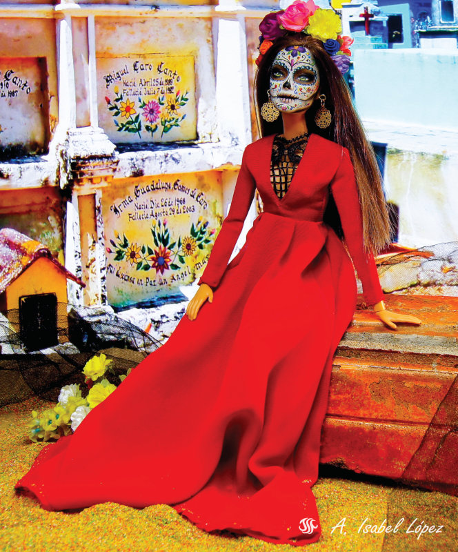 """Ana Isabel Lopez: """"Typical La Catrina makeup for the Day of the Dead celebrated in Mexico. The background shows real gravestones in the famous Hoctun Cemetery in Yucatán State, Mexico."""""""