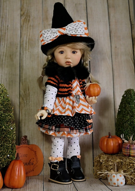 """Dineke Bolle: """"My Meadow doll Sylvia Scarlett dressed as a sweet little witch. Outfit made by me."""""""