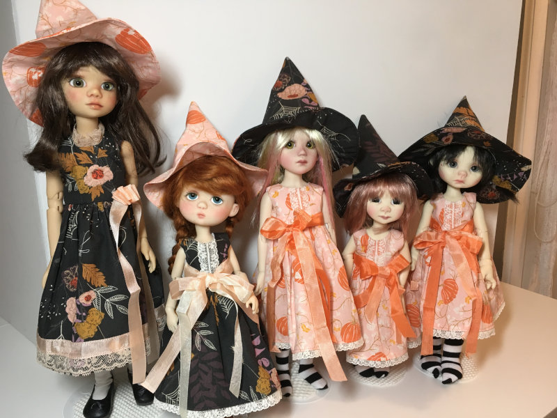 """Donna Ryan: """"Halloween with friends: Forever Virginia's Briar and Marigold, Liz Frost's Mia, and Nikki Britt's Adeline and Wendy."""""""