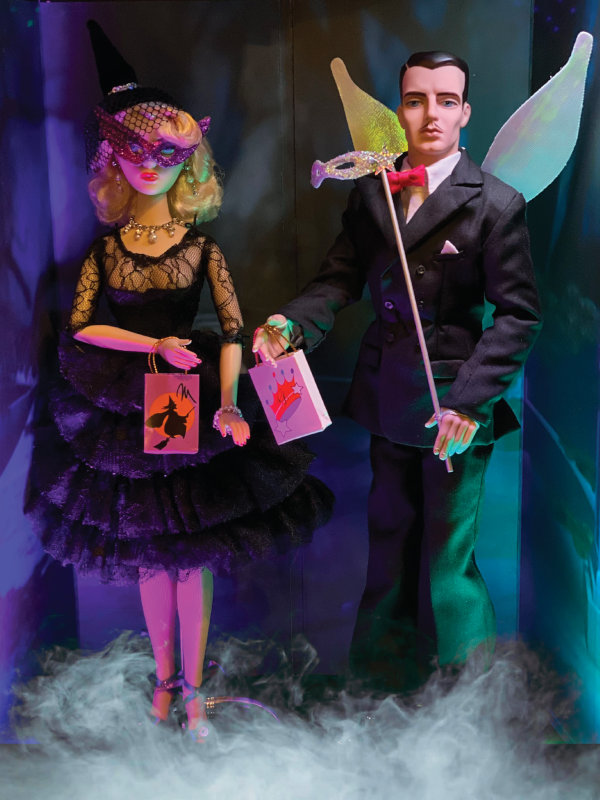 """Eric DeLoretta: """"Gene and Trent arrive at the Halloween party, tongues firmly in cheek! Gene and Trent dolls by Mel Odom for Integrity/Jason Wu."""""""