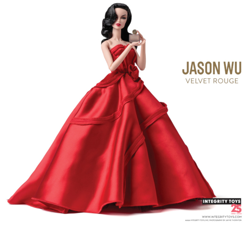 Vanessa Perrin models a Jason Wu original design in Velvet Rouge, which was sold with one of Wu's fragrances.