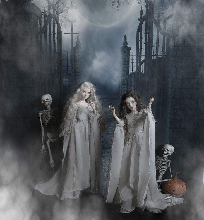 """Jay Searle: """"Triffony Artwork dolls (Tisa on the left, Mariyah on the right) are alluring vampires wearing Tonner dresses."""""""