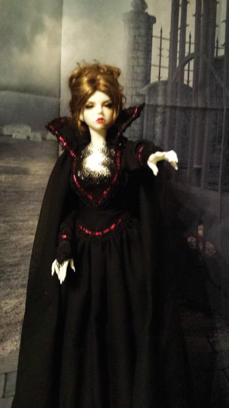 """Linda Wilkinson: """"Vampire BJD dollShe is Dark as the night, a vampire's delight. A point of turn, a flight of night."""""""
