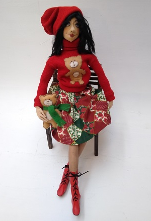"Maria Tereza Cravo Panichi: ""The dolls in the photos are dressed for the 2020 Christmas party; they are made of fabric using the needle-sculpture technique. Her name is Cristina."""