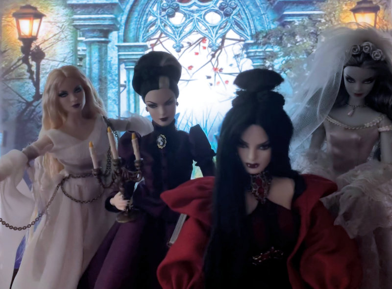 Nilsa Donelan: Haunted Beauty Barbie dolls. From left: The Ghost, Mistress of the Manor, Vampire and Zombie Bride.