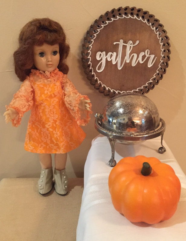 "Rose Engelhardt: ""Ideal's Harriet Hubbard Ayer doll. She is waiting for Thanksgiving dinner."""