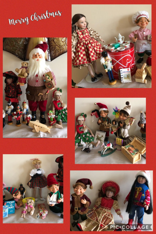 "Sharyn Gr: ""Affordable Designs Leeann dolls join Santa and his elves in the workshop to get ready for Christmas Eve."""