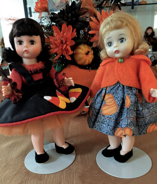 """Linda Shypulefski: """"Alexander Wendy dolls dressed for Halloween. Dark-haired Wendy wears a Ginny Month of October costume. Blond Wendy wears a costume purchased at a doll show."""""""
