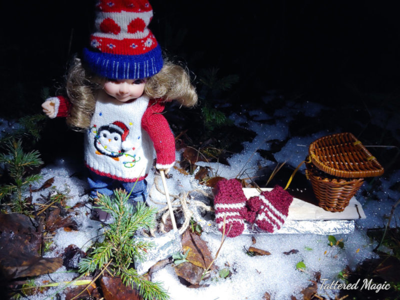 "Tabitha Smallwood: ""Kaylee (12 cm BJD) dressed warmly to get a tree for Christmas."""