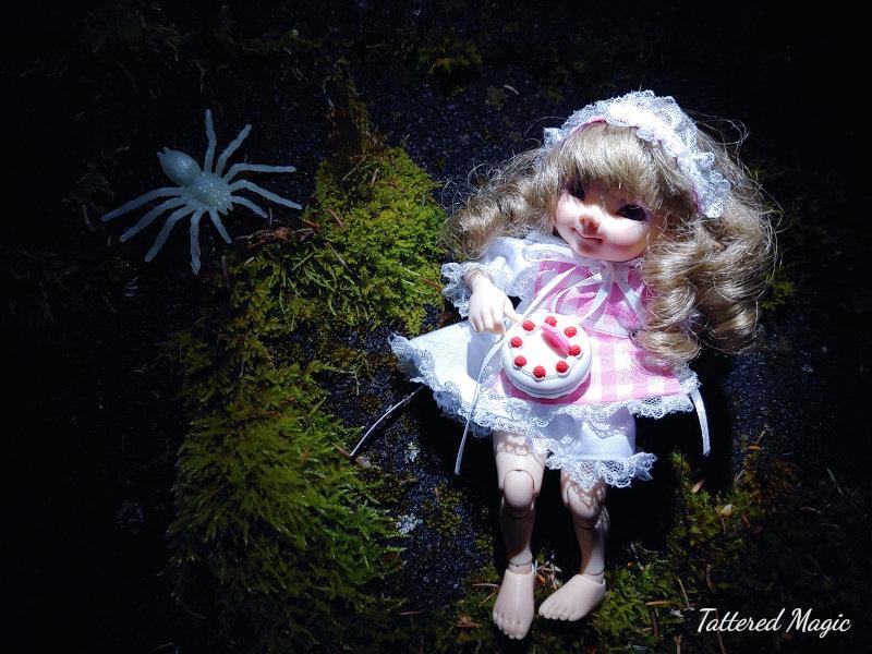 """Tabitha Smallwood: """"Kaylee (12 cm BJD) posing as Little Miss Muffet for Halloween."""""""