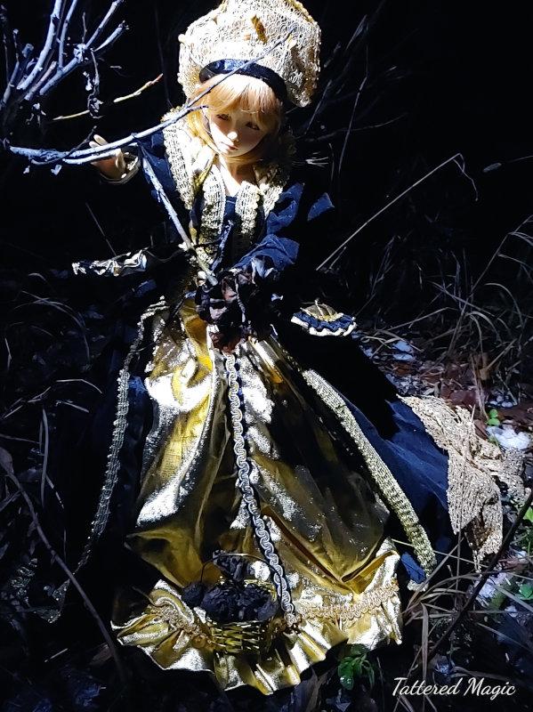 "Tabitha Smallwood: ""Elise (42 cm BJD) as a Halloween Queen collecting roses."""
