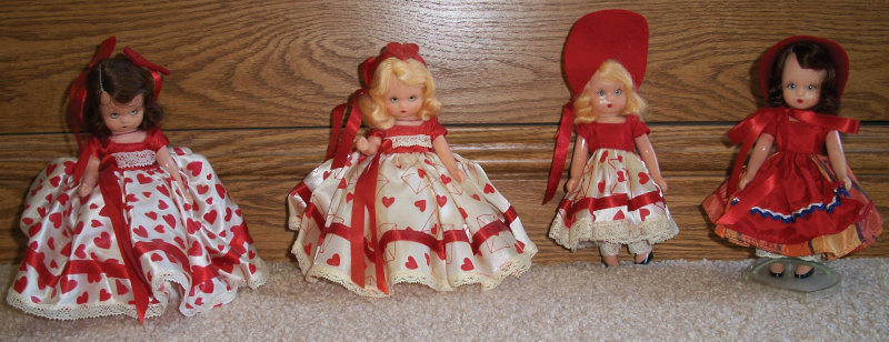 """Beverly Hart: """"Vintage 1950s Nancy Ann Storybook sweetheart dolls ready for Valentine's Day!"""""""