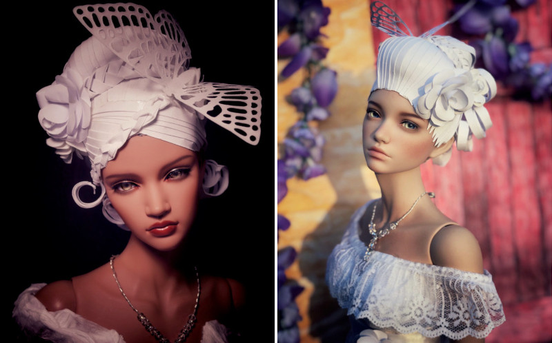 "These were the first paper wigs Spencer created for her challenge, modeled by Iplehouse BJDs Stella (left) and Isabel. ""I created two because I couldn't pick a muse,"" she added with a laugh."