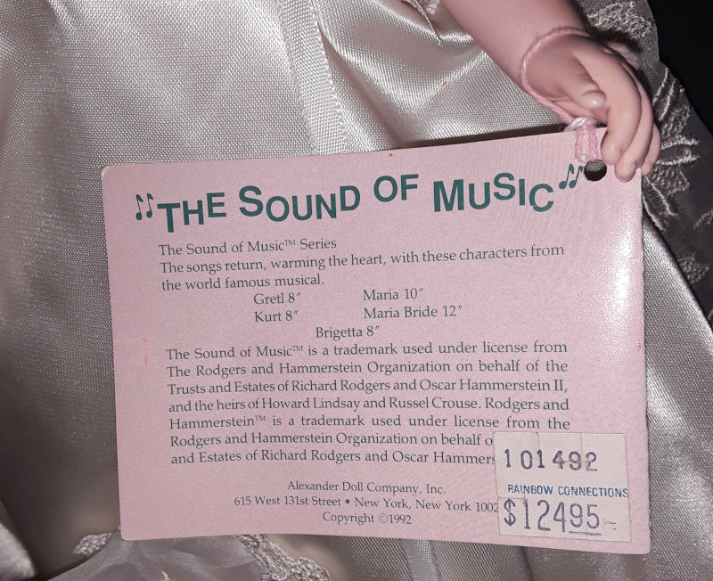 "The wrist tag for Madame Alexander's ""Sound of Music"" bride doll."