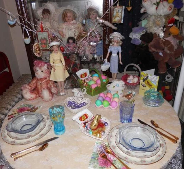 "Donna Bell: ""I love to incorporate dolls in my holiday meals. My Easter table several years ago (from left): an Annette Funicello bear, Janet Lennon doll, and Gene Marshall doll all dressed up for Easter!"""