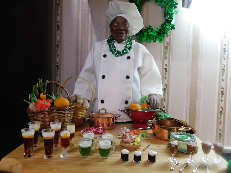 """Jacquelyn Graham-Dickson: """"Daddy Long Legs' Chef Henry with his St. Patrick's Day feast."""""""