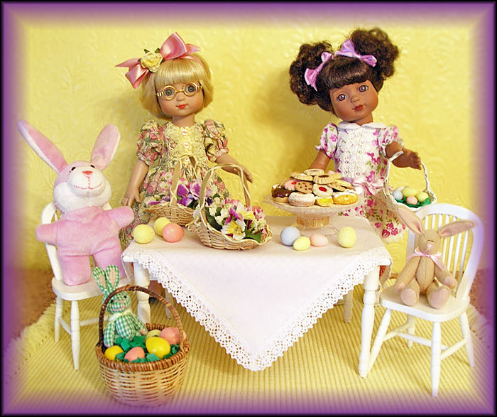 "Janis Kiker: ""Ann Estelle and Georgia by Tonner Doll Company celebrate Easter with friends and treats!"""
