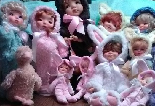 "Jaris Traw: ""Meadow Doll Twinkles in bunny suits made by Lori Gould."" (1/2)"