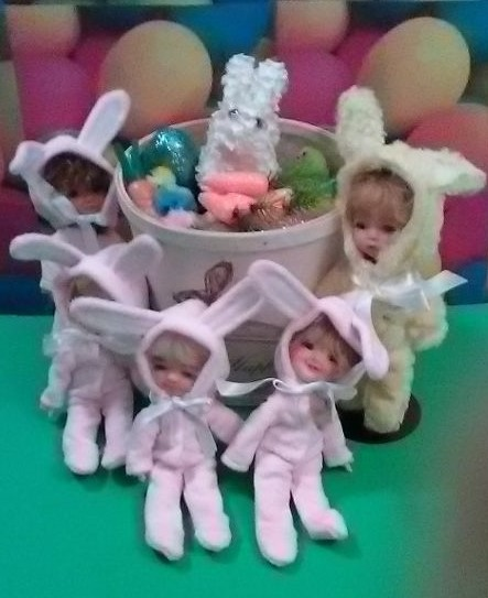 "Jaris Traw: ""Meadow Doll Chocolate Bunny Mae and her Dumpling friends also dressed in bunny suits made by Lori Gould. They are all ready for a fun Easter!"" (2/2)"