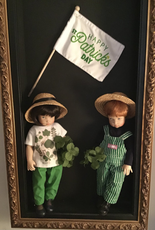 """Mary Basden: """"Bethany and Christopher Kish dressed in Linnea's gardening clothes to celebrate St. Patrick's Day."""""""