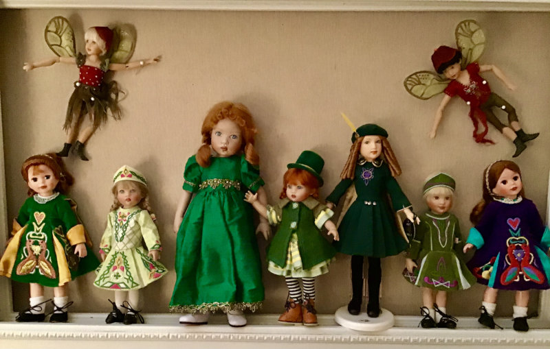"""Mary Basden: """"Kish and Tonner dolls and fairies line up for St. Patrick's Day."""""""