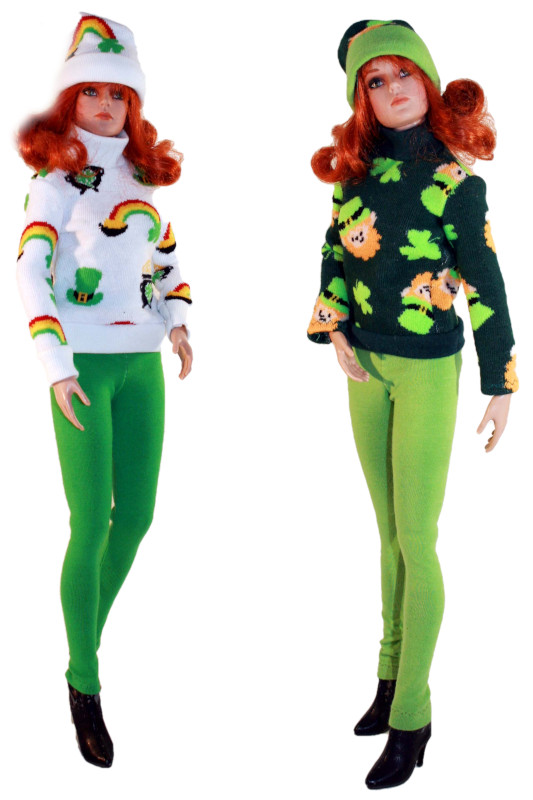 """Sherry O'Brien: """"Grace Marie Fitzpatrick by Tonner models two St. Patrick's outfits by House of O'Brien: a white sweater with rainbows and lucky pots of gold and a dark green sweater with leprechauns and shamrocks, both with matching hats and green leggings."""""""