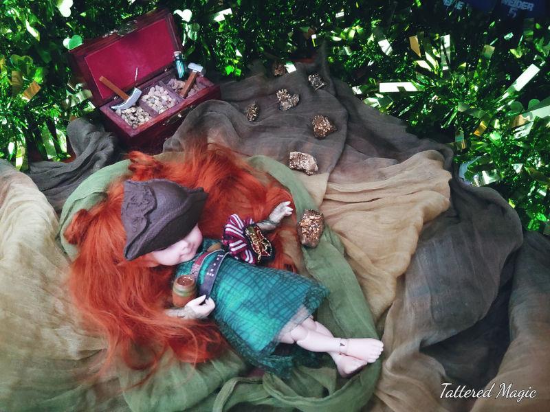 "Tabitha Smallwood: ""Kaylee (a 14 cm BJD) takes a break from mining leprechaun gold."" (2/2)"