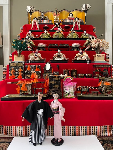 Yuko Waugh made a special kimono set for her Gene and Trent dolls to go with her traditional Hina Ningyo display.