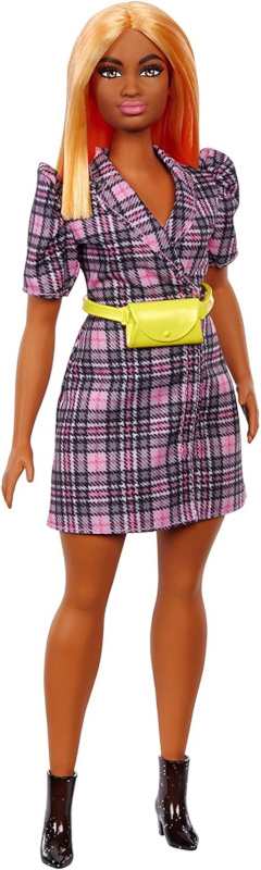 Boasting orange hair and a curvy shape, this new Barbie Fashionista proudly sports a yellow fanny pack.