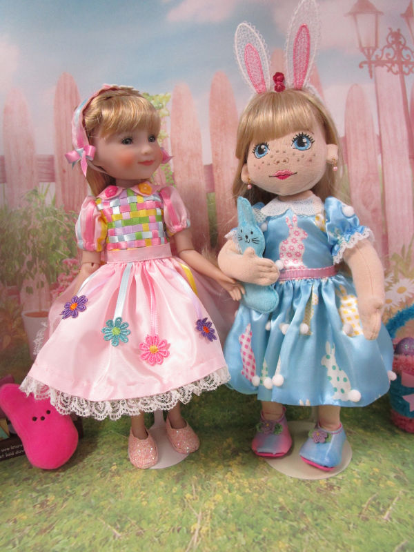 "Linda Dryer: ""Ruby Red Fashion Friend (left) wearing a woven ribbon bodice dress I designed and made. I also made the cloth doll and her outfit."""