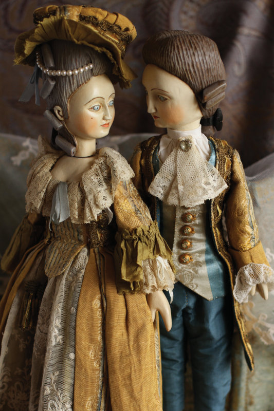 Mordvinkova enjoys creating 14-inch wooden dolls costumed in the styles of the French court of the 17th and 18th century.