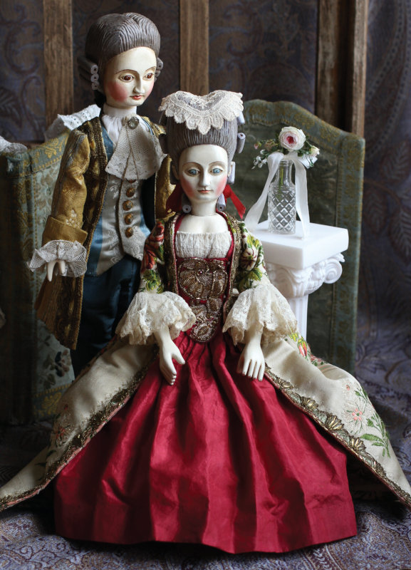 14-inch wooden dolls dressed in French Court style by Mordvinkova.