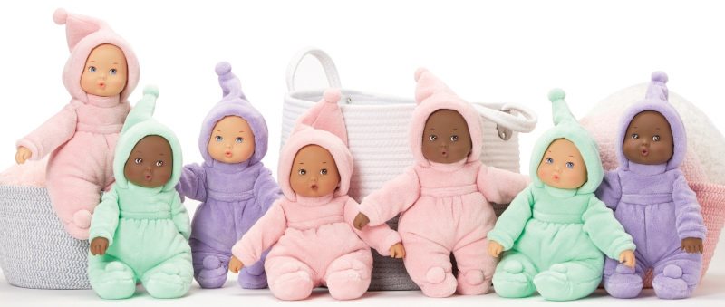 The My First line now comes in new skin tones and a new lavender sleeper color. The perfect first baby doll for children, you can select from pink, mint green and now lavender outfits. For newborns and older.