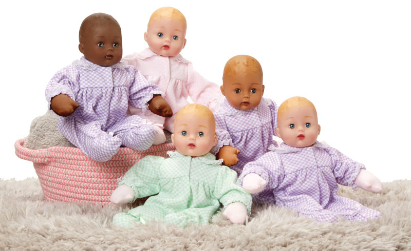 Madame Alexander's traditional Huggums line also has new skin tones and a new lavender outfit available for all dolls. For ages 2 and older.